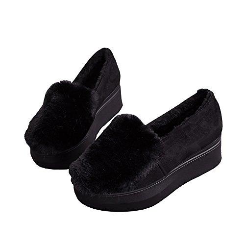 [ANGELCITY] レディース ルームシューズ 5cm 厚底 ふわふわ もこもこ ファー 付き かかと付きで 冬でもあったか かわいい スリッパ スリッポン モカシン フラット 履きやすい 美脚 軽量 おしゃれ (23.5cm, ブラック)