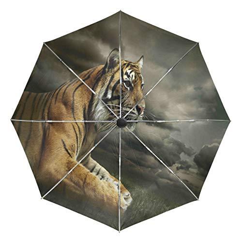Wamika Regenschirm mit Tiger-Aussehen, sitzend, dramatisch, automatischer Regenschirm, Tiermotiv, winddicht, wasserdicht, UV-Schutz, 3-fach faltbar, automatisches Öffnen/Schließen, für Sonne und Regen