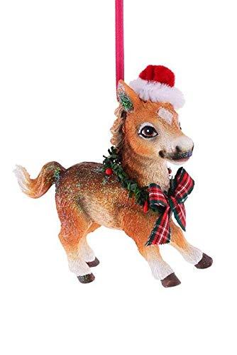 Gift Company - hanger - kerstboomversiering, boomversiering - paard pony met kerstmuts - (LxHxD): 10,2 x 10,4 x 3,6 cm