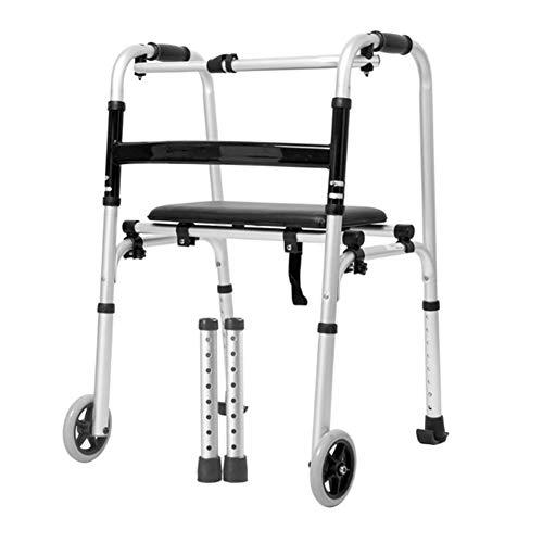 Mr.LQ Walking Frame Rollator Healthcare Folding Leichtgewicht Aluminium Sturdy Walking Device mit Sitzausrüstung für Ältere,Pulley,51x47x73cm