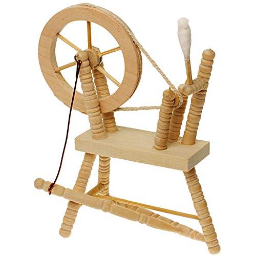 alles-meine.de GmbH Miniatur - Spinnrad - aus hellem Natur Holz - Puppenstube Maßstab 1:12 - Puppenhaus Puppenhausmöbel - zum Spinnen Wolle - Schafwolle Spindel Dornröschen Märch..