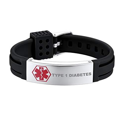 Supcare Medical Alert ID Type 1 Diabetes Bangle Bracelet Silicone Stainless Steel, Medical Emergency Identification Adjustable Band Bracelet Jewelry, Allergy Medical Bracelet for Women/Men/Boys