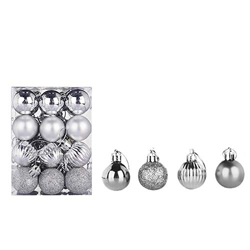 2021 The Latest 24Pcs Christmas Baubles Sale 30mm Christmas Tree Balls Ornaments Christmas Decorative Bauble Pendant Decorations Hanging Home Party Decor Merry Christmas Holiday Xmas Gifts (Hot Pi...