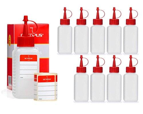 Octopus 10 x 100 ml HDPE Plastikflaschen, z.B. für E-Liquids (E-Zigaretten), Liquidflaschen BZW. Kunststoffflaschen mit Roten Spritzverschlüssen/Tropfverschlüssen, inkl. Beschriftungsetiketten