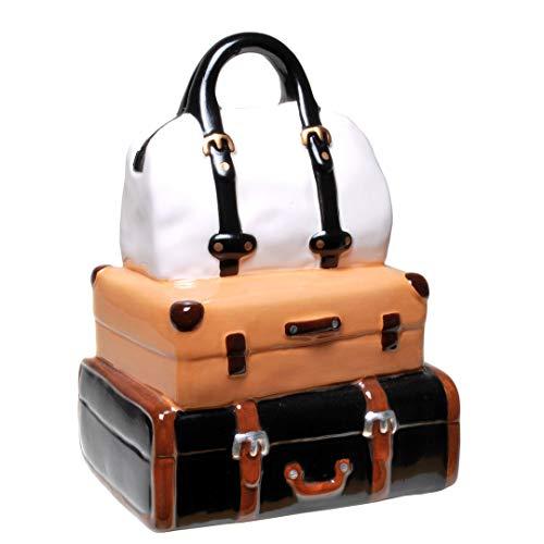Topshop24you wunderschöne große Spardose Reisekoffer,Koffer, Reisekasse, Urlaubskasse Reisegepäck mit Pfropfen aus Keramik ca. 19 cm groß