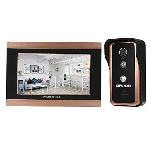 OWSOO Videoportero 7 Pulgadas Timbres para Puerta Cámara con Cable 1000TVL IR-Cut Soporte Vision Nocturna Remote de Teléfono App Desbloqueo Grabación Instantánea
