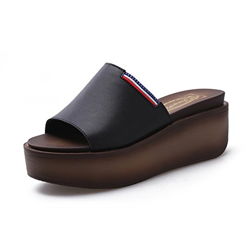 Sandalen 6cm Zwart/Wit Dames Waterdichte Tafel Koele Slippers Hoge hakken Mode Slippers Stijlvol/comfortabel EU36/UK3.5/CN35 Zwart