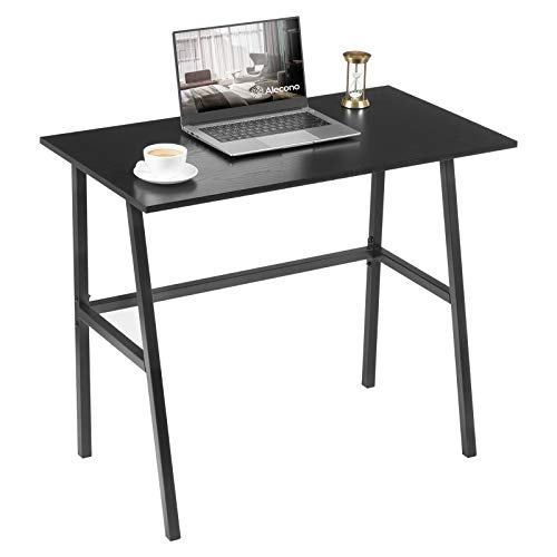 Small Computer Desk 35'' Kids Writing Desk for Small Space Simple Home Workstation Office Tiny Desk Student Study PC Gaming Table with Metal Frame for Bedroom, Black