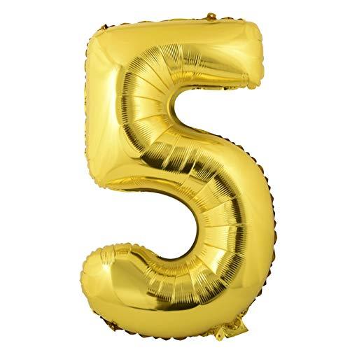 Miss Bakery's House® Ballon Folie Helium Zahl 5 Gold - Deko Geburtstag Party