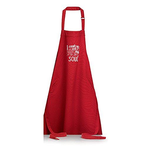 Winkler - Tablier de cuisine - Tablier de cuisine réglable - Tablier pour la cuisine - Tablier barbecue - Tablier 100% Coton - 80 x 85 - Rouge - Soul