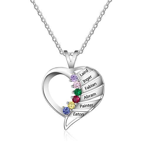 DaMei Personalisierte Namenskette Hert 925 Sterling Silber mit 6 Namen & 6 Simulierte Birthstone Herzanhänger mit Geburtssteine Halsketten mit Gravur für Familie Frauen Mutter Oma Freunde
