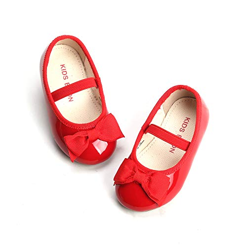 THEE BRON Girl's Toddler/Little Kid Ballet Mary Jane Flat Shoes (8M US Toddler, G02 Red)