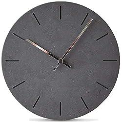 Stephanie Imports Modern Minimalist Concrete Misty Black Silent Wall Clock