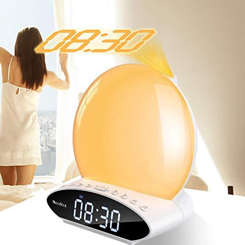 TTLIFE Wake Up Light , Reloj Despertador Inteligente Mejorado con Radio FM / Reproductor USB, luz Nocturna de Color para Dormitorio, máquina de Ruido Blanco, Soporte para Pantalla proyectable