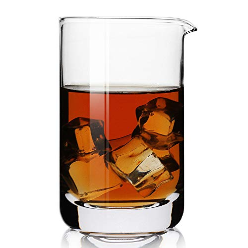 Professional Cocktail Mixing Glass with Seamless and Handblown Construction,Thick bottom, Clear,Premium,Plain Design,Bar glasses,Best for Bartenders