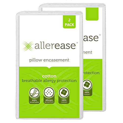 "Aller-Ease 100% Cotton Allergy Protection Pillow Hypoallergenic, Allergist Recommended, Zippered Pillowcase Protector Prevents Collection of Common Allergens, 20"" x 26"" (Set of 2), White, 2 Pack"