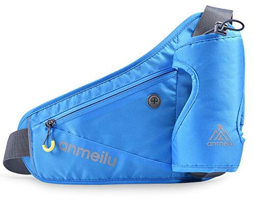 anmeilu Sport Hüfttasche für Trinkflasche Laufgürtel Handy bis 6.5 Zoll Gürteltasche für Damen Herren Bauchtasche wasserdichte für Sport Running Joggen Radfahren Ausgeführt Wandern Walking (Blau)