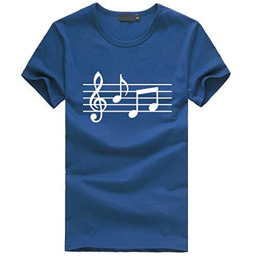 Yowablo Tee Shirt Homme Chemise Haut Chemisier Nouveau Design Unisexe Impression 3D col Rond Musical Manches Courtes (M,Marine)