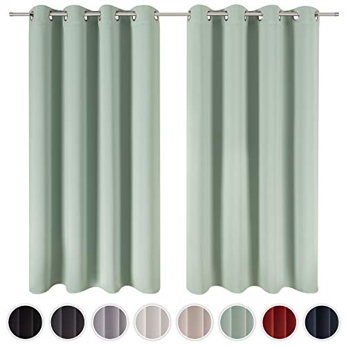 Blumtal 2er-Set Gardinen Verdunkelungsvorhang Blickdicht - Eleganter Vorhang mit Ösen für Schlafzimmer, 245 x 140 cm, Sommergrün