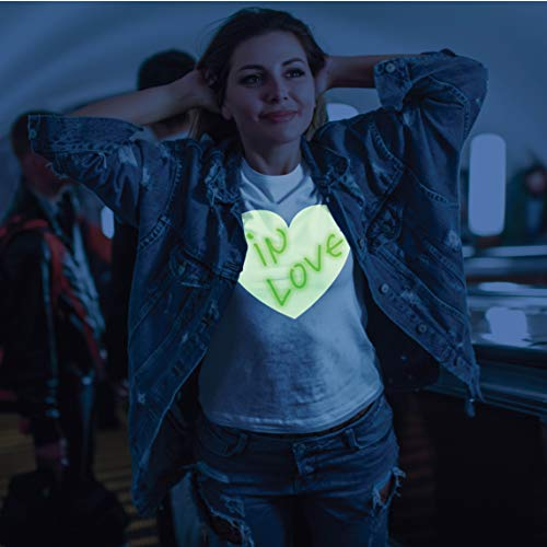 lepni.me Women's T-Shirt Interactive Neon Glow in The Dark Valentines Day Birthday Party Apparel Draw on with Led (XXL Graphite Glow in The Dark)