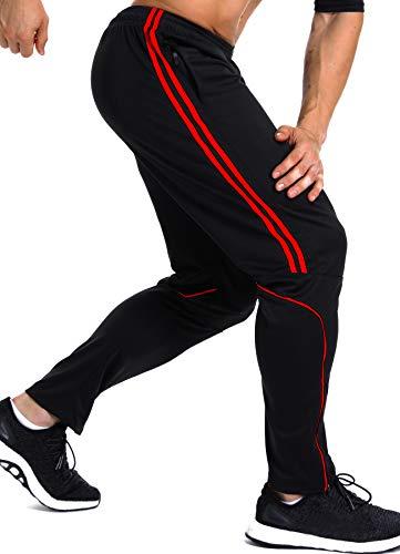 INSTINNCT Herren Lange Trainingshose Sport Jogging Hose Sweatpants mit Reißverschlusstasche Streifen (Rot) S
