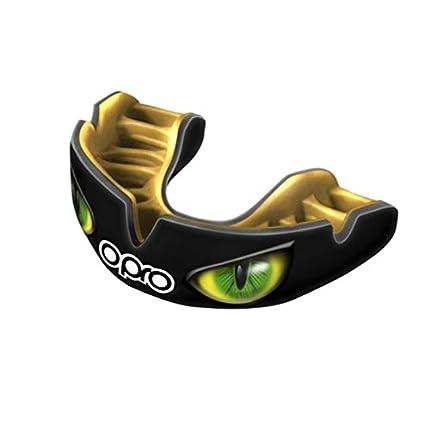 OPRO Power-Fit | Mouthguard Hecho a Mano | Escudo de Goma para Rugby, Hockey, Lacrosse, Boxeo y Otros Deportes de Contacto (10 años o más) | 18 Meses de garantía Dental (Ojos Negro/Dorado/Verde)