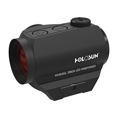 Holosun HS403GL Microdot Rotpunkt Visier mit 2MOA Punkt Absehen, schwarz, Picatinny/Weaver Schiene, für die Jagd, Sportschießen und Softair, Tactical Micro red dot Sight - 70127294