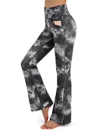 Promover Damen Bootcut Yogahose Flare Lange Bootleg-Hose mit Hoher Taille Taschen Bauchkontrolle Yoga Fitness Hose Trainingshose Arbeitshose für Workout Arbeit Freizeit