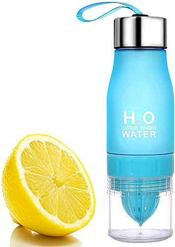 H2o - Borraccia con infusore per frutta, con filtro, effetto glassato, 650 ml, per yoga, ciclismo, viaggi, colore: blu