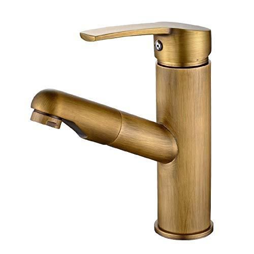 JJIAOJJ Grifo Esquina Redondeada Cuadrados Grifo Caliente Y Fría Lavabo Baño Bronce Antiguo Retro Higiénico Aumentada Accesorios de baño (Color : Square Rounded Corners-Short)