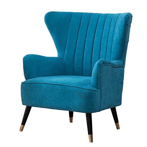 Sillón nórdico Modelo para Dormitorio o salón, butaca de Estilo escandinavo tapizado,Lake Blue