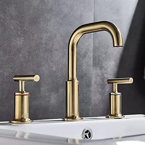 DERUKK-TY Grifo de la bañera de latón grifo del fregadero 3 unids ducha baño grifo del lavabo agua caliente y fría mezclador doble manija interruptor
