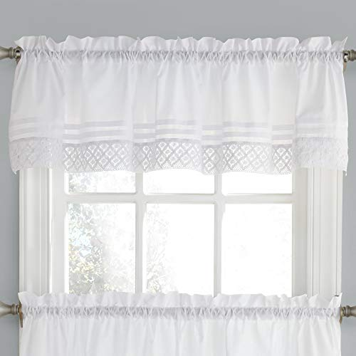 Sweet Home Collection Kitchen Window Curtain Tier, Swag, or Valance Treatment in Stylish and Unique Patterns and Designs for All Home Décor, Crochet White