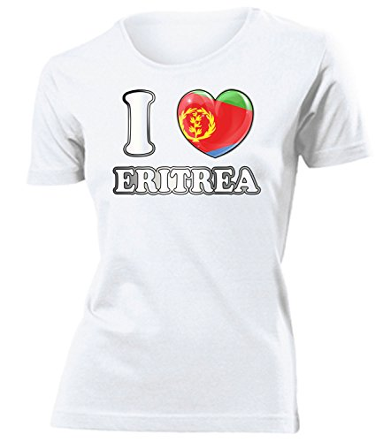 I Love Eritrea 5589 Fussball Fanshirt Fan Shirt Tshirt Fanartikel Artikel Frauen Damen T-Shirts Weiss M