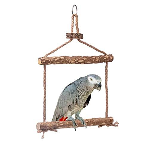 decwang Vogelschaukel Spielzeug Natürliche Holz handgefertigte Vogelschaukel Vogelspielzeug für große Vogel Papagei Hühner Hahn Ara Training