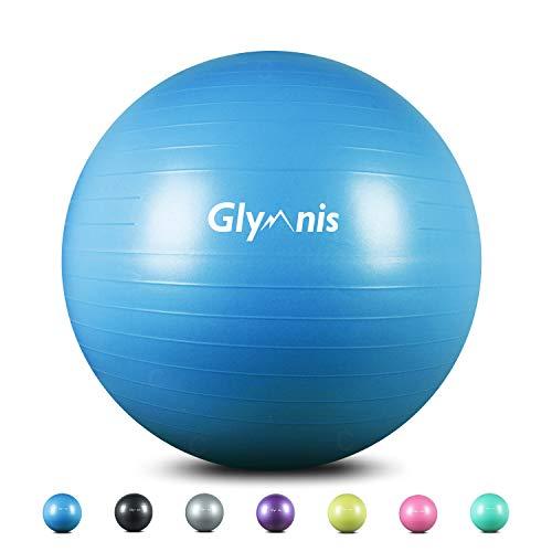 Glymnis Pelota de Ejercicio Pelota Anti-Burst para Pilates Gimnasia Fitness Equilibrio Yoga Embarazo 55cm 65cm 75cm con Hinchador Azul (55cm)