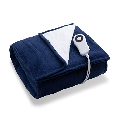 Bedsure Heated Blanket Throw Electric - with 5 Heat Setting, Fast Heating Blanket, 4 H Timer Auto - Off, Super Fuzzy Soft Microfiber Sherpa/Fleece Reversible Throw Blanket, 50 x 60 Inch Navy