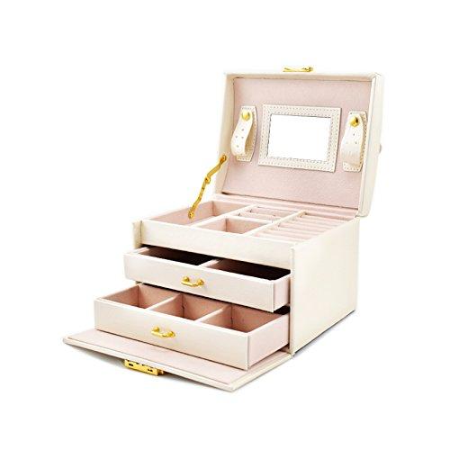 Boîte à Bijoux Mallette Coffrets boîte à Maquillage, Bijoux et cosmétique Beauty Case avec 2 Tiroirs 3 Couches (Blanc)