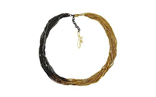 MILTON-FIRENZE Collana in ottone sfumato placcato Oro giallo 24kt con cristalli Swarovski, chiusura a moschettone e logo. Hand Made in Italy. …