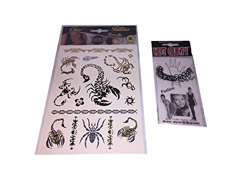 BG chic tattoos : Plaque de tattoos metallic éphémères + 1 bracelets plastique offert (1952)