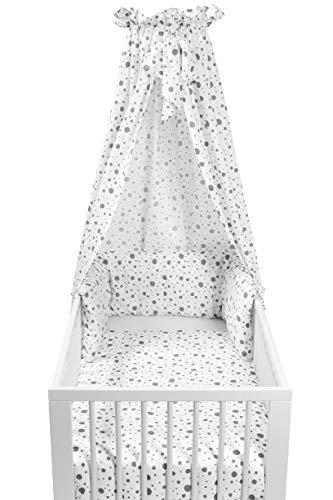 Meyco 421055 DOTS - Juego completo de cuna (4 piezas), color blanco