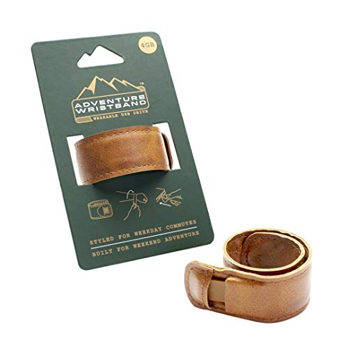 Luckies of London Adventure Wristband - Bracciale con chiavetta USB in similpelle marrone, 4GB