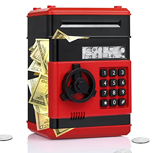 Fresh Friend Piggy Bank for Girls Boys, Electronic ATM Machine Saving Box Coin Safe with Password Lock, Auto Scroll Paper Money Bank, Gift Toys for 5 6 7 8 9 Year Old Kids (Red BlackB)