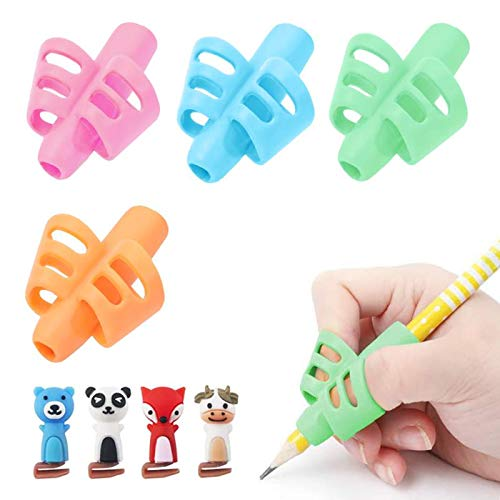 Pencil Grips for Kids,BUSHIBU Soft Silicone Pencil Pen Holder,Hollow Ventilation Writing Training Aid for Toddler and Children(4pcs Grips with 4pcs Clips)