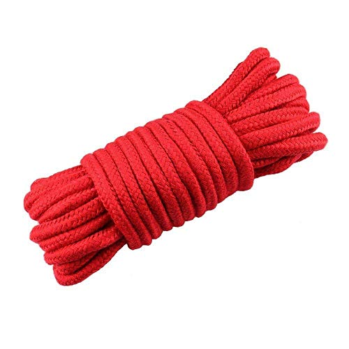 Cotton Rope, 1 Pack 32 feet 10m Red Soft Rope Multi-Purpose Washable Strong Multifunctional Rope Long Strap