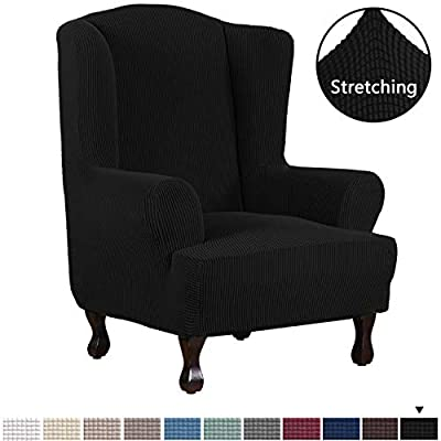 H.VERSAILTEX 1 Piece Super Stretch Stylish Furniture Cover/Wingback Chair Cover Slipcover Spandex Jacquard Checked Pattern, Super Soft Slipcover Machine Washable/Skid Resistance