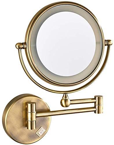 LED Maquillaje Espejos Montado en la pared, baño de doble cara de 8 pulgadas Lámpara de latón iluminada Magnifique los espejos de vanidad extensibles plegables con luces, con enchufe eléctrico de inte