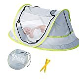 Aiernuo Large Baby Beach Tent, Portable Baby Travel Tent UPF 50+ Infant Sun Shelters Pop Up Folding Travel Bed Mosquito Net Sunshade with 2 Pegs