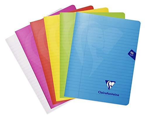 Clairefontaine 303745C – Ein Notizbuch mit Piqué Mimesys 96 Seiten, 17 x 22 cm, 90 g, liniert mit Rand, Einband aus Polypropylen (Kunststoff), zufällige Farbe