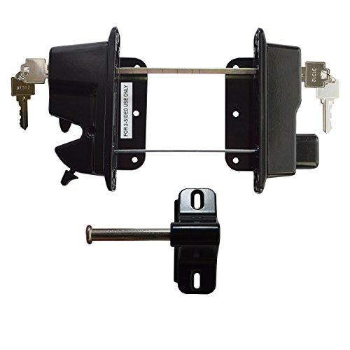 Keystone Black Zinc Diecast Metal Key Lockable Latch | 2-Sided | Keyed Alike | KLADV-M2-BK-KA